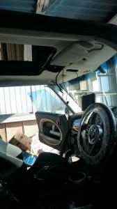 久喜市BMWミニクーパーSルーフライニング(天張り)張替